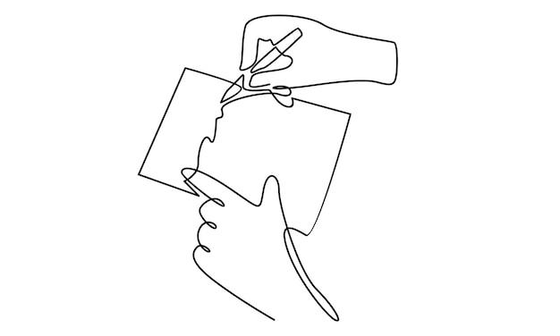 Ilustração em linha contínua da mão do empresário assinar contrato de negócios folha de papel