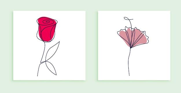 Ilustração em linha contínua de flores com folhas abstratas conjunto de design