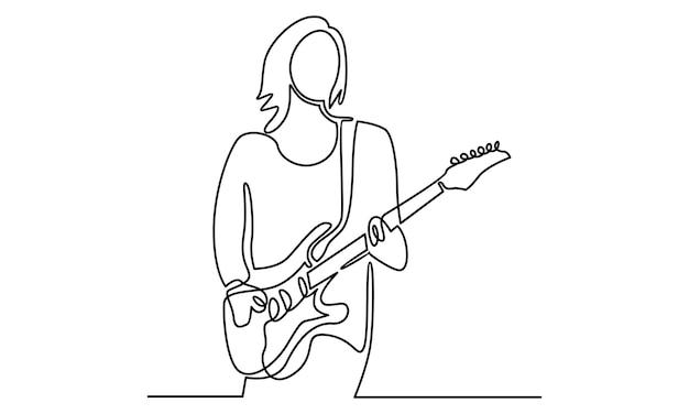 Ilustração em linha contínua de homem tocando guitarra elétrica
