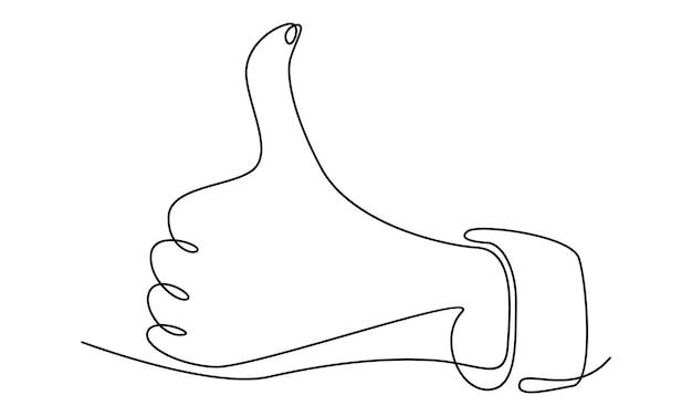 Ilustração em linha contínua de mão polegar para cima