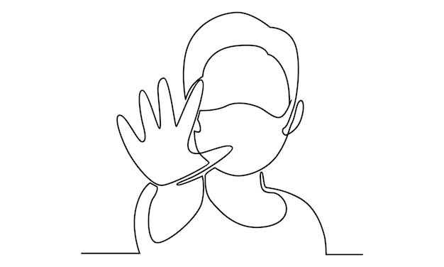 Ilustração em linha contínua de menino usando máscara