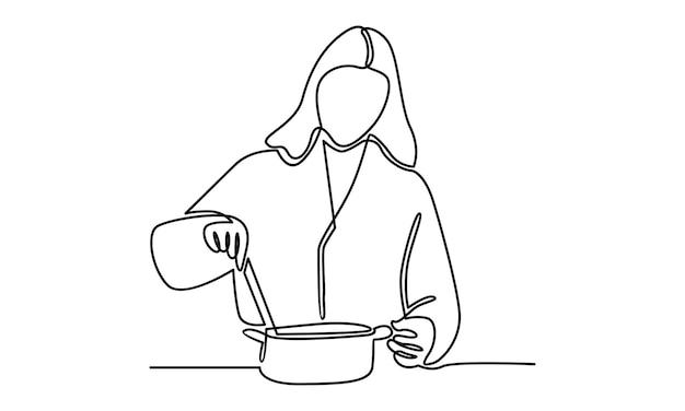 Ilustração em linha contínua de mulher cozinhando