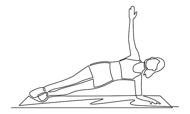 Ilustração em linha contínua de mulher praticando esportes deitada na esteira