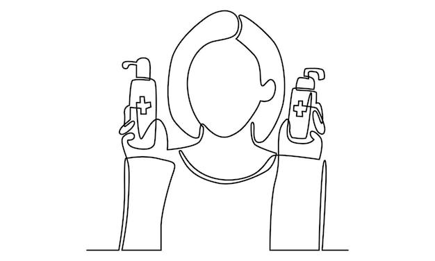 Ilustração em linha contínua de mulher segurando desinfetante para as mãos
