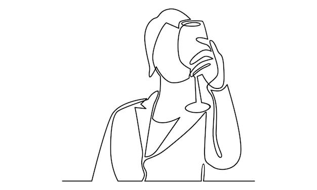Ilustração em linha contínua de mulher segurando uma taça de vinho