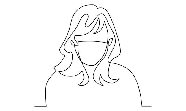 Ilustração em linha contínua de mulher usando máscara médica
