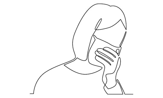Ilustração em linha contínua de mulher usando máscara protetora