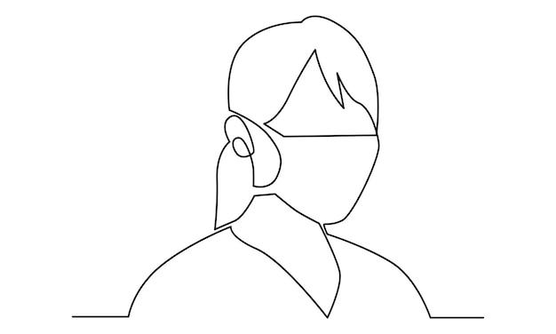 Ilustração em linha contínua de mulher usando uma máscara contra poeira