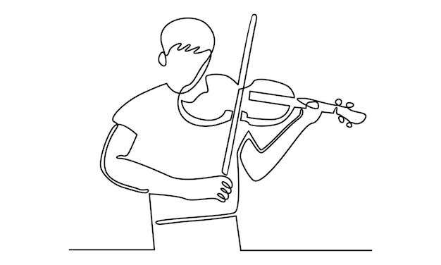 Ilustração em linha contínua de um homem tocando violino