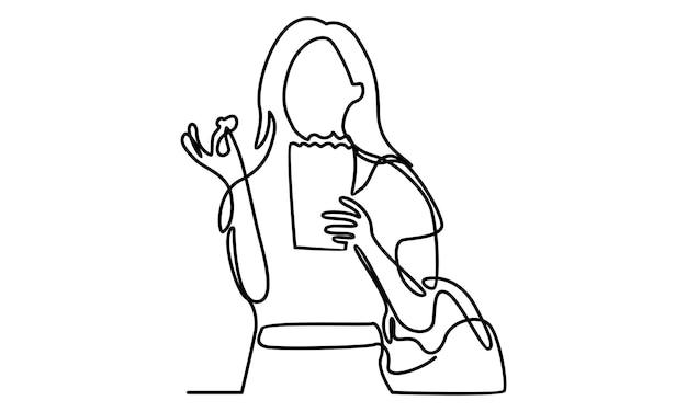 Ilustração em linha contínua de uma linda garota comendo pipoca