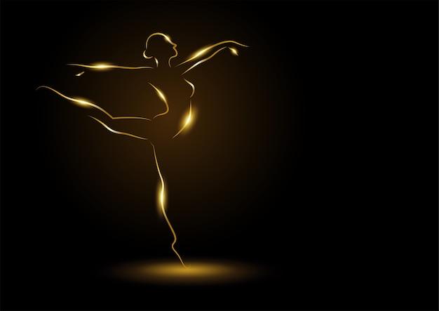 Ilustração em linha de arte de uma bailarina dourada