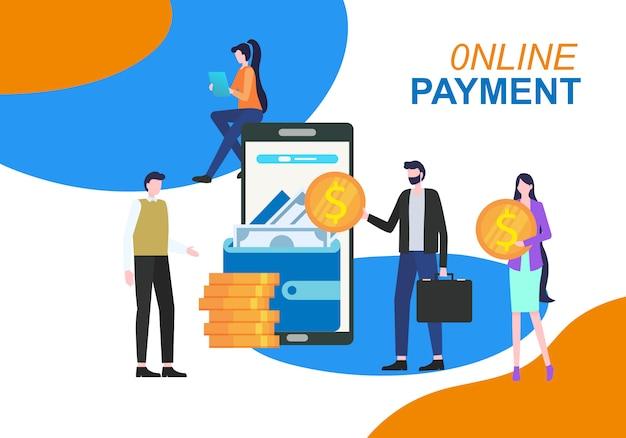 Ilustração em linha do vetor da aplicação do telefone móvel do pagamento.