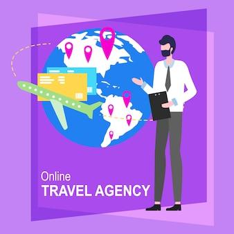 Ilustração em linha do vetor do trabalhador do homem dos desenhos animados da agência de viagens.