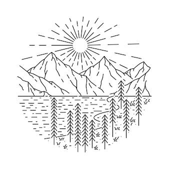 Ilustração em linha natureza lago montanha