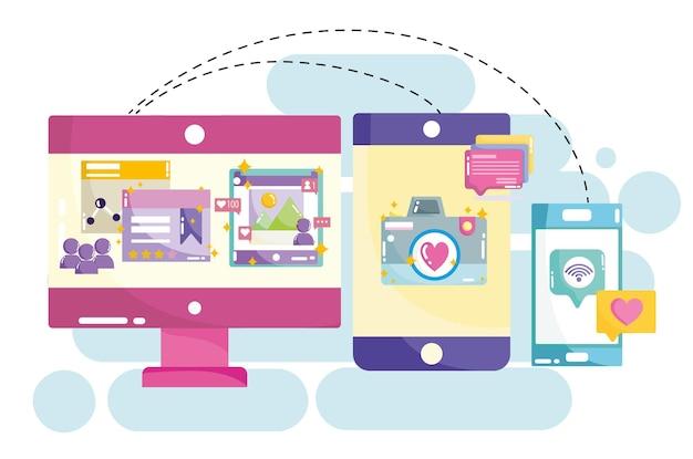Ilustração em mídia social de computador tablet e câmera de smartphone site de internet