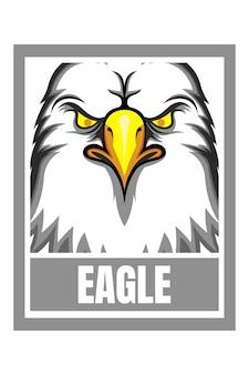 Ilustração em moldura de desenho de rosto de águia