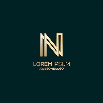 Ilustração em ouro luxo com logotipo da letra n