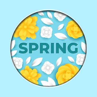 Ilustração em papel de flor de primavera azul