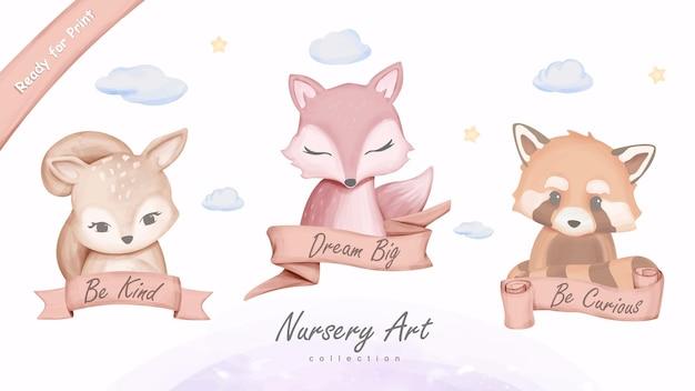 Ilustração em parede com arte impressa de animais fofos