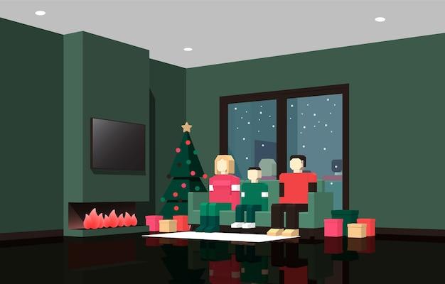 Ilustração em perspectiva de uma família comemorando o natal e o ano novo em frente à lareira na sala de estar.