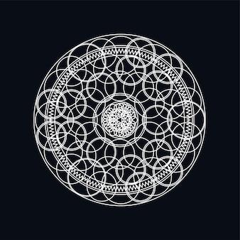 Ilustração em prata geométrica mandala lineart isolada no preto. motivo tradicional. tatuagem boho