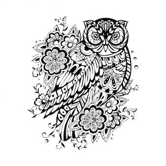 Ilustração em preto e branco da coruja