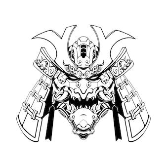 Ilustração em preto e branco da máscara de samurai mecha
