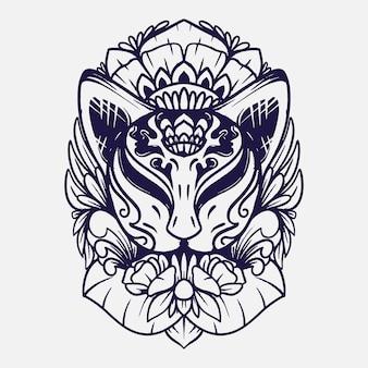 Ilustração em preto e branco da máscara kitsune