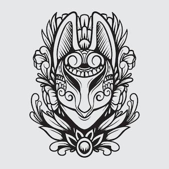 Ilustração em preto e branco da máscara ornamental do kitsune