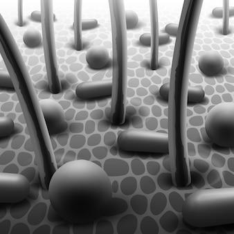 Ilustração em preto e branco de bactérias esféricas e em forma de bastonete na pele com microflora de cabelo ao microscópio