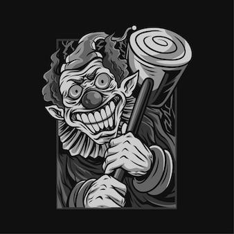 Ilustração em preto e branco de halloween com palhaço assustador
