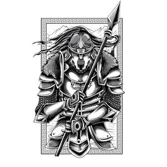 Ilustração em preto e branco de husaria warrior