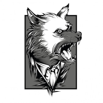 Ilustração em preto e branco de lobos da máfia