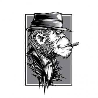 Ilustração em preto e branco de macaco da máfia
