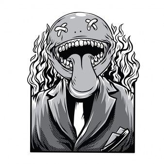 Ilustração em preto e branco de piadas de morte