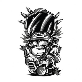 Ilustração em preto e branco de policiais