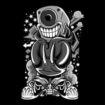 Ilustração em preto e branco de potência sonora
