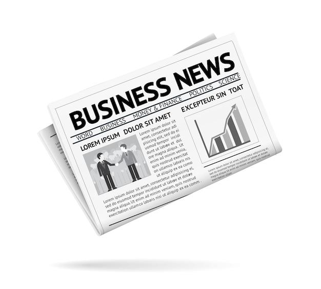Ilustração em preto e branco de um jornal dobrado apresentando notícias de negócios com dois empresários
