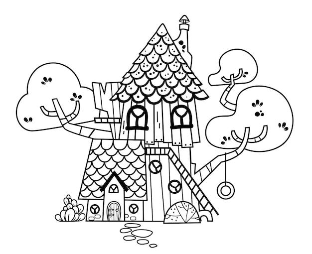 Ilustração em preto e branco de uma casa na árvore.