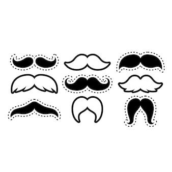 Ilustração em preto e branco de vários estilos de bigodes isolada