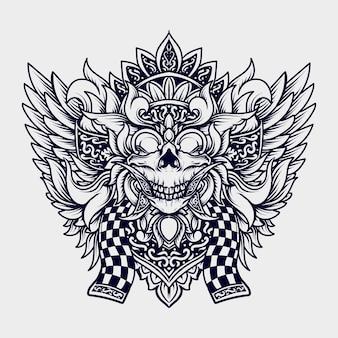 Ilustração em preto e branco desenhada à mão balinese barong