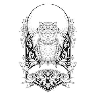 Ilustração em preto e branco desenhada à mão coruja gravura ornamento
