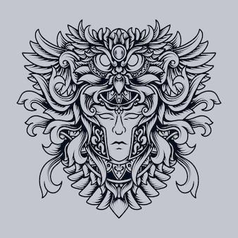 Ilustração em preto e branco desenhada à mão coruja humana ornamento de gravura