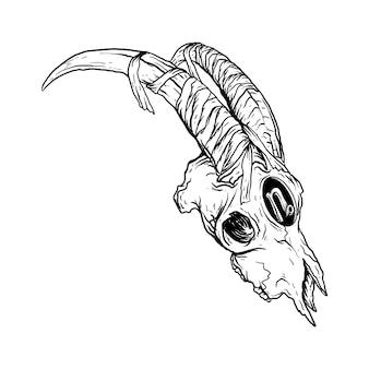 Ilustração em preto e branco desenhada à mão, crânio do zodíaco capricórnio externo