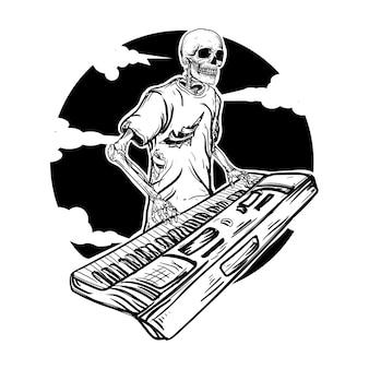 Ilustração em preto e branco desenhada à mão esqueleto tecladista