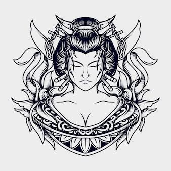 Ilustração em preto e branco desenhada à mão gueixa mulheres gravura ornamento
