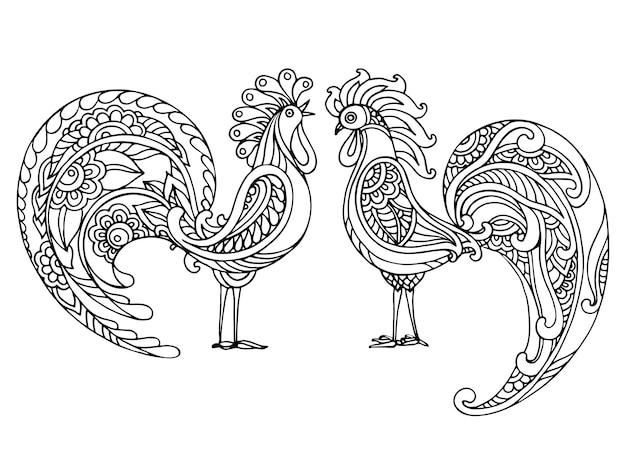 Ilustração em preto e branco desenhada à mão