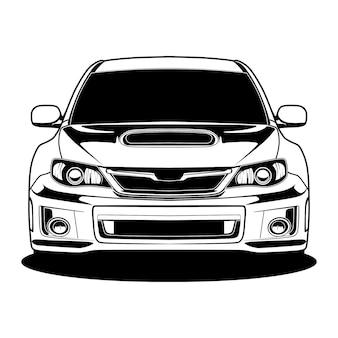 Ilustração em preto e branco do carro
