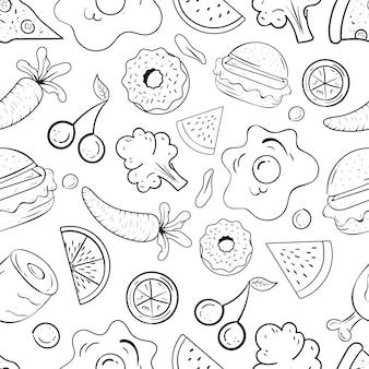 Ilustração em preto e branco do dia mundial da alimentação doodle arte padrão sem emenda vetor premium