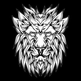 Ilustração em preto e branco do logotipo da cabeça de leão
